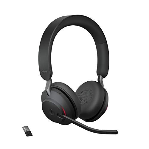 Jabra Evolve2 65 Wireless Headset, Noise Cancelling Microsoft Teams Zertifizierte Stereo Kopfhörer mit langer Akkulaufzeit, USB-A Bluetooth Adapter, schwarz