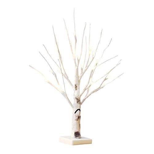 Albero di Pasqua bianco con luci decorative, 24 LED bianchi caldi a batteria, decorazione da tavolo o da appendere