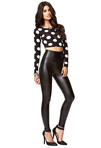 piannao Damen Kunstleder Leggings High Waist Leggings Hose Strumpfhosen Treggins Leggins Kunstleder Leggings Leder Look hüfthoch, Schwarz, XXL
