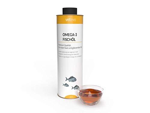 vetevo Omega-3 Fischöl für Hunde, Katzen & Pferde - Premiumqualität ohne künstliche und chemische Zusätze. Geeignet für Knochen-, Haut- und Fellgesundheit. Zur äußeren und inneren Anwendung.