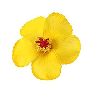 IMIKEYA Hibiscus Flowers Artificial Flowers Hawaiian Flowers for Tabletop Decoration Party Favors Supplies (Yellow) 1 Pc
