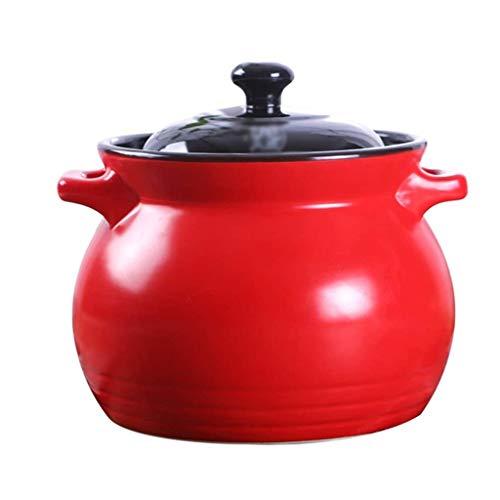 YWSZJ Rojo cazuela, de guisado de la Sopa del Plato Que Cocina la cazuela con Tapa for el Horno de microondas, Estufa eléctrica de cerámica