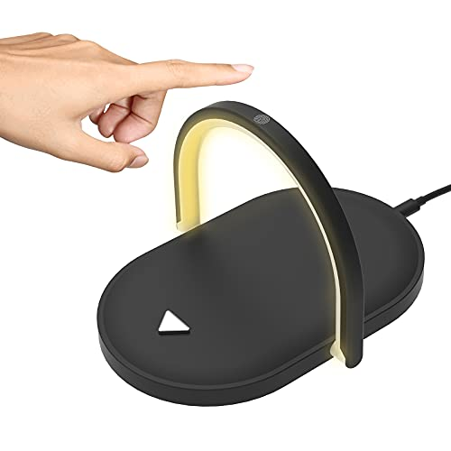 Lámpara Escritorio LED con Cargador Inalámbrico, 3 Modos, Base de Carga Inalambrica 15W, Flexo LED Escritorio Regulable con Función de Soporte para Leer Estudiar Trabajar (Negro)