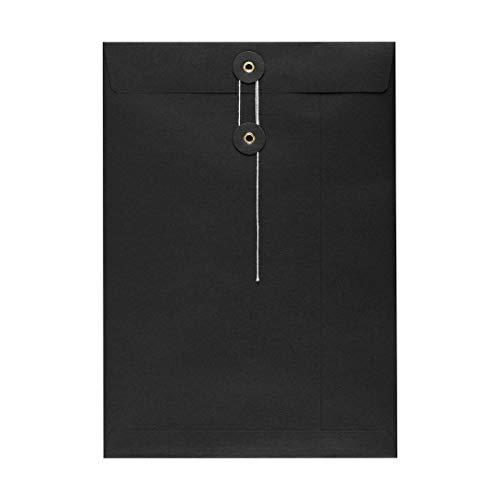 Umschlag C4 Schwarz, Bindfadenverschluss, Briefumschlag, Versandtasche, Kuvert, glatt, Kraftpapier - 10er Pack