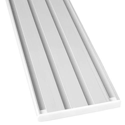 Riel para cortina de aluminio, todas las longitudes hasta 480 cm, riel plano (7 mm), 1, 2, 3 y 4 carriles, incluye deslizadores de cortina.