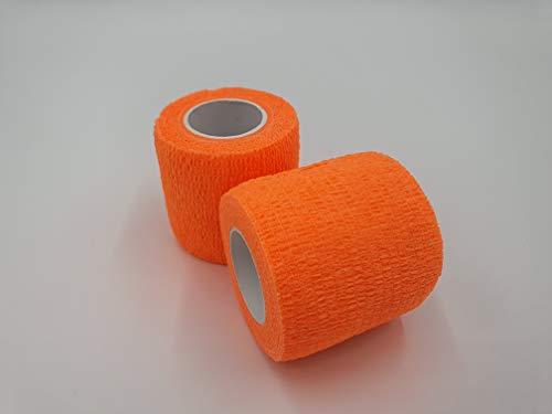 nilo - bende adesive - 24 rotoli 5 cm x 4,5 m, benda autoadesiva ed elastica (neon arancione)