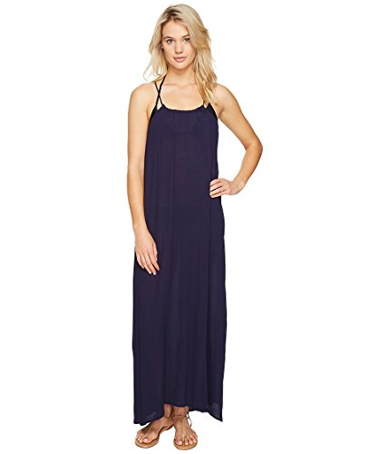 Echo Design Women's Solid Maxi Beach Dress Swimsuit Cover Up, Navy, L