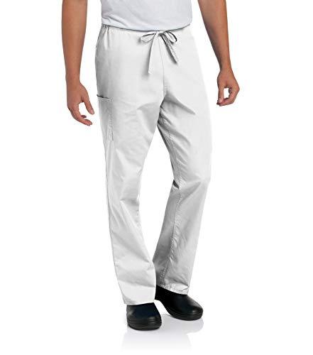 Scrub Zone Professional Medical 2-Pocket Drawstring Scrub Pant, White, 3X-Large