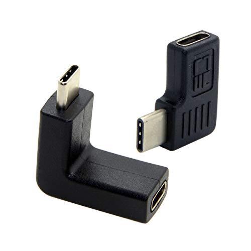 Cablecc 1 adaptador de extensión vertical horizontal de 90 grados USB 3.1 tipo C macho a hembra para ordenador portátil, tablet y teléfono