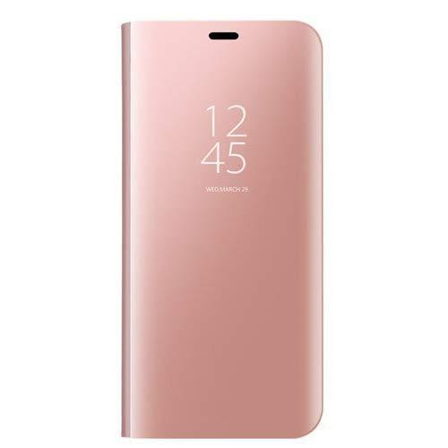 VGANA Mirro Coque pour Huawei Mate 20X 5G, Coque de Protection Mirro Placage Simple Support FILP [Auto-réveil/Réveil Automatique] Housse. Rose