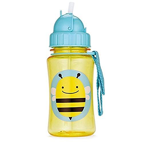 Skip Hop 10318009 Zoo Straw Bottle Bottiglia con Paglia, 18 oz, Multicolore (Ape)