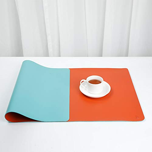 Extended Desk Pad Protector, Dual-Sided Desk Writing Pad Large PU Leather Mouse Pad Waterproof Non-Slip Keyboard Mat for Office Home (Color : Blue+Orange, Size : 60x30cm(24x12inch))