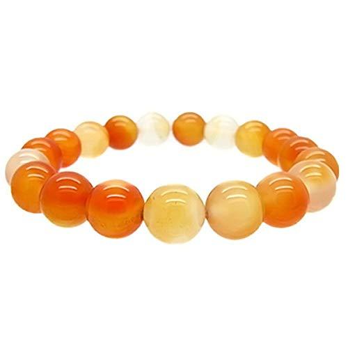 Gem Stone King Gorgeous 10MM Orange Agate Stretchy Bracelet Fits up to 8.5 Inch Wrist