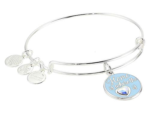 Alex and ANI Home is Where The Heart is Bangle Bracelet Shiny Silver One Size