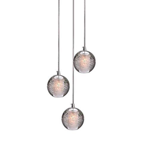 LED Modern Pendelleuchte, K9 Kristall Kugel Kreative Kronleuchter, Hochwertigem Innen Dekoration Hängelampe, Schön Wohnzimmer Leuchte Schlafzimmer Lampe Restaurant Lichter 3* G4 (3-Flammig)