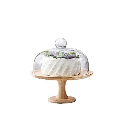 CSQ - Alzata per torte da 20,3 cm, in stile retrò, da caffetteria, panetteria, base alta, in legno, per bistecche, in vetro, a cupola falafel e salse, leggera, Vetro, 25.5*25.5*28CM