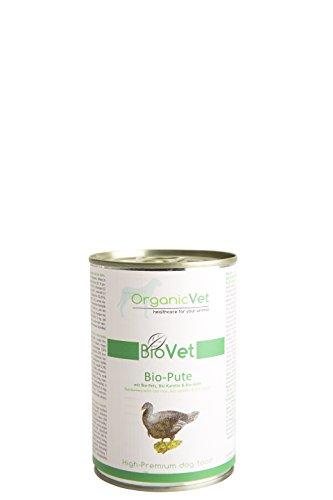 ORGANICVET Hund Nassfutter BioVet Bio-Pute mit Bio-Reis, Bio-Karotte und Bio-Apfel, 6er Pack (6 x 400 g)