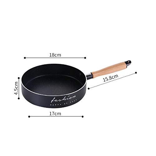 ljjlljjl Poêle à Frire Antiadhésive en Aluminium Poêle à Fond Plat Poêle à Frire en Pierre Maifan Poêle Antiadhésive Mini Complément Alimentaire Poêle Domestique-18cm Noir