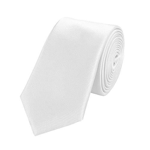 Fabio Farini - einfarbige und elegante Krawatte in verschiedenen Farben und Breiten zur Auswahl Weiß 6cm