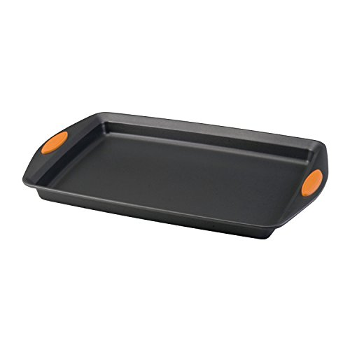 Rachael Ray 54070 Nonstick Bakeware with Grips, Nonstick Cookie Sheet / Baking Sheet - 10 Inch x 15 Inch, Gray with Orange Grips