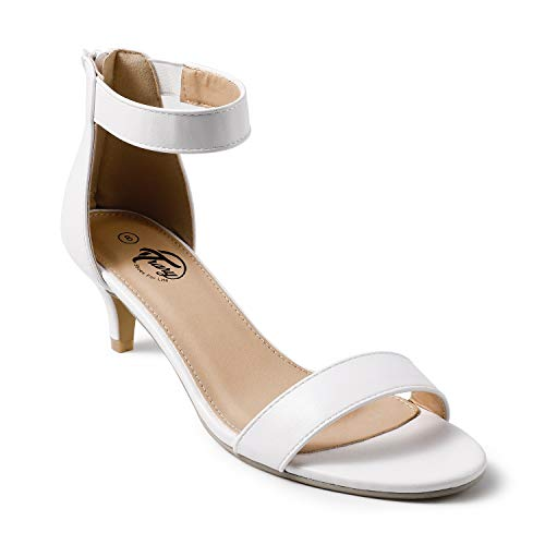 Trary Women's Ankle Strap and Back Zipper Low Stiletto Heel Sandals White 06