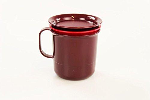TUPPERWARE Taza Vaso marrón con inserto rojo brillante y cubierta