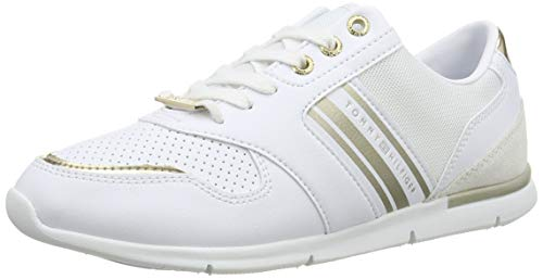 Tommy Hilfiger Damen METALLIC Lightweight Sneakers Sneaker, Weiß (White/Light Gold 0k7), 39 EU