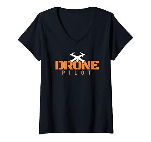 Mujer Drone Pilot I Vuelo de drones Hobby Fabricación de Camiseta Cuello V