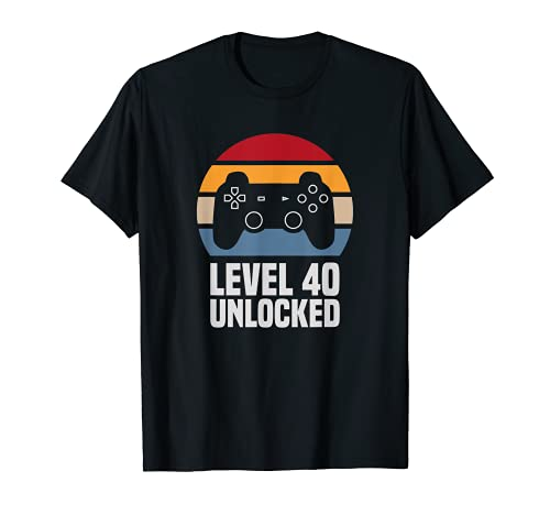 Level 40 Unlocked 40º Cumpleaños 40 Años Videojuego Camiseta