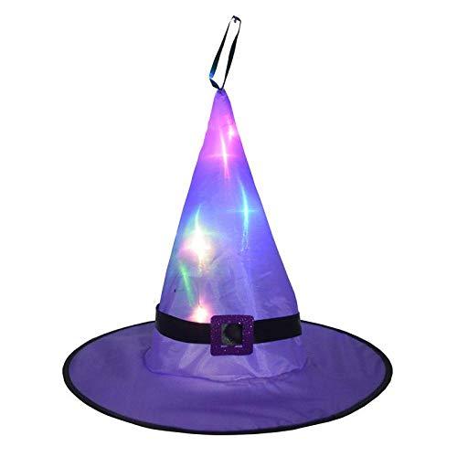 Winter Luces Sombrero de Bruja Led Falda Brillante Asistente Accesorios de Cosplay Fiesta cumpleaños Regalo Disfraz de Halloween para Mujeres niños niñas Navidad 均码 Purple