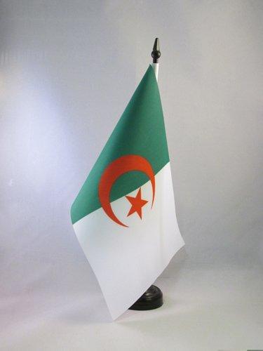 AZ FLAG TISCHFLAGGE ALGERIEN 21x14cm - ALGERISCHE TISCHFAHNE 14 x 21 cm - flaggen