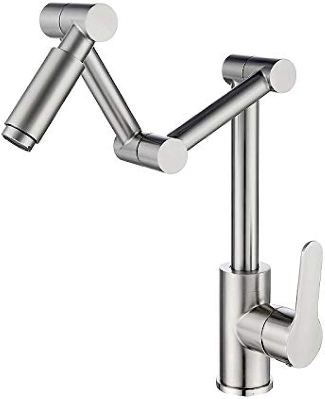 Edelstahl Küchenarmatur Spüle Spüle Klappteleskop heien und kalten Wasserhahn sitzen Drehhahn