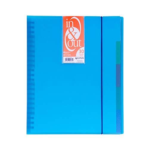 Grafoplás 39423030-Carpeta fundas extraibles, tamaño A4, color azul, 30 fundas
