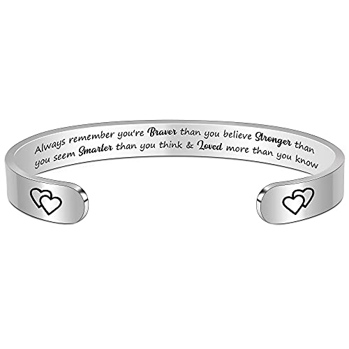 Btysun Inspirational Bracelets for Women Teen Girl Personalized Birthday Cuff Bangle Mantra Quotes Jewelry Friend Gifts for Her Mom