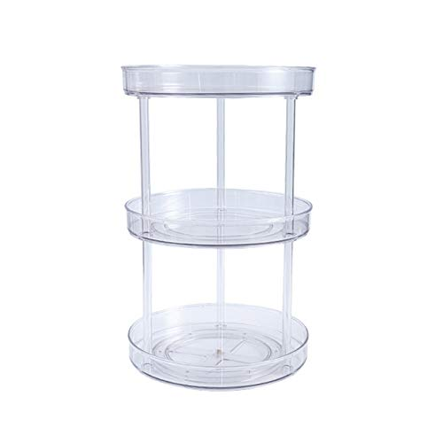 Lazy Turnable Cabinet Organizer Multifunctional 1-3 Tier 360 Rotating Clear Cabinet Organizer Large Spinning Spice Containers Cosmetic Can Organizers for Kitchen Pantry Bathroom C
