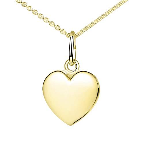 Materia Herzkette Gold 375 Damen Mädchen 1,1g - kleiner Herz Anhänger mit Kette Goldkette 42cm in Schmuck Etui GKA-5