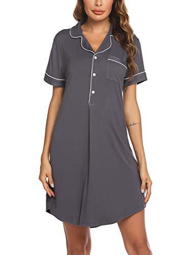 Ekouaer Damen Nachthemd Baumwolle Damennachthemd Lang Tasche Nachthemden Kleid Casual
