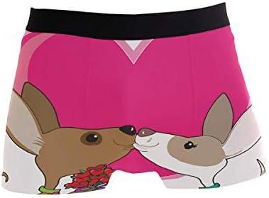 Fitted Boxer Bóxer Día de San Valentín Chihuahua Amor Boxer Calzoncillos para Hombre,4,XL