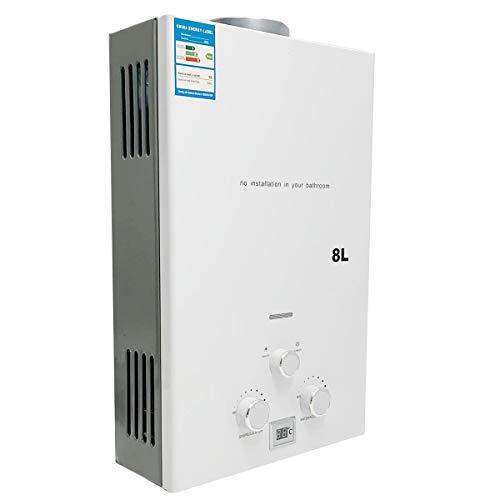SUDEG LPG Durchlauferhitzer, 8L/ min 16 kW Durchlauferhitzer-Digitalanzeige mit Beschichtung Duschkopf-Kit Wand-Warmwasserbereiter Sofortbad Weiß