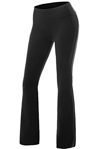 CROSS1946 Damen Yoga Lange Stretch Lagenlook Hose Schwarz X-Large