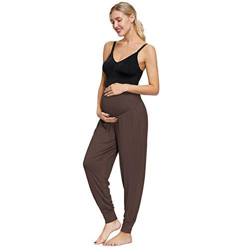 Maacie MCS02036 - Pantalones de premamá de cintura alta para mujer, pantalones de yoga, para embarazadas, pantalones de deporte, leggins, pantalones de fitness Mcs02036(café) S