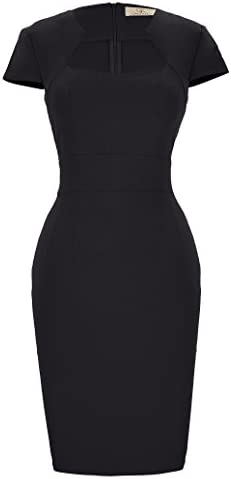 Women s 1950s Retro Vintage Cap Sleeve Black Pencil Dress S CL8947 1 product image