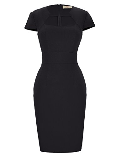 GRACE KARIN Rockabilly schwarz Kleid 50s Kleid Damen festkleid Vintage Business Kleid midi Pencil...