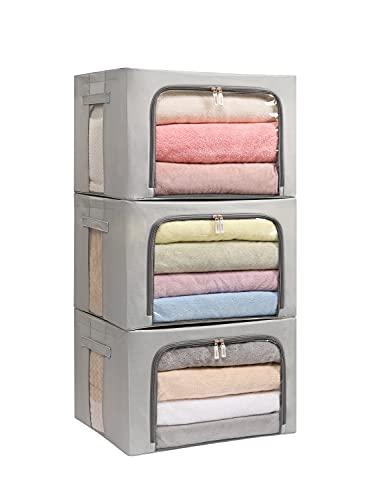Paquete de 3 cajas de almacenamiento con marco – Bolsas de almacenamiento de ropa de tela Oxford, plegable, apilable, organizador de contenedores con ventana transparente y asas...