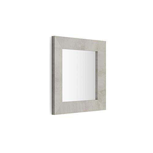 Mobili Fiver, Miroir Mural carré, Cadre Ciment, Giuditta 65, 65 x 65 x 3,5 cm, Mélaminé/Verre, Made in Italy