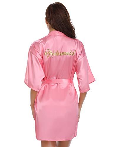 Vlazom Vlazom Morgenmantel für Hochzeit Satin Kimono Badmantel für Braut&Brautjungfern V-Ausschnitt Damen Robe mit Gürtel S-XXL