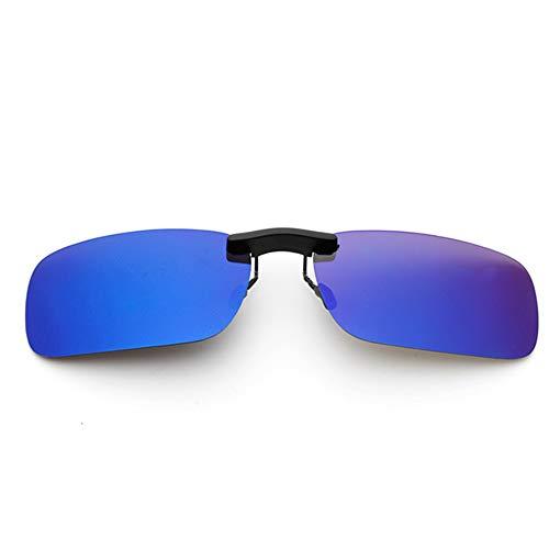 新型 メガネの上からつけられる クリップオン サングラス 偏光レンズ UV400 夜間運転 偏光スポーツサングラス 付きサングラス 跳ね上げ 偏光クリップ眼鏡 紫外線カット 前掛けクリップ式サングラス 収納ケース付き 超軽量 WangToall (ブルー)