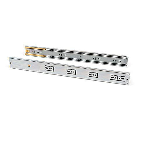 Emuca - Guide per cassetti con cuscinetti a sfera 45mm x 550mm, Set di 1 coppia di binari ad estrazione totale con chiusura ammortizzata