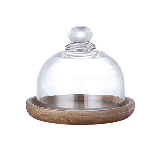 Aiglen Mini tapa de cristal placa de postre bandeja de la torta retro tapa de la cúpula de madera de acacia bocadillo de fruta planta exhibición bandeja herramientas para