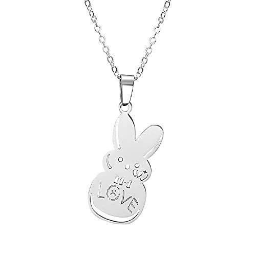 Lil Peep - Collar con colgante de conejo, cadena de eslabones triste para el amor, joyería de clavícula de acero inoxidable o regalo para los amantes de la cantante joven